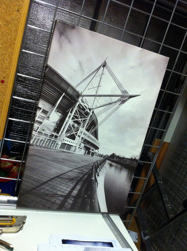 24x16inch Millennium Stadium canvas. Shop stock clearance  usually £80  SALE £30 (tiny mark on top left corner)